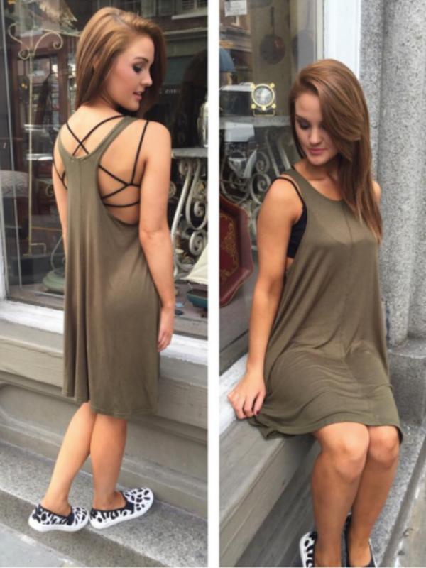 del mar olive tank dress
