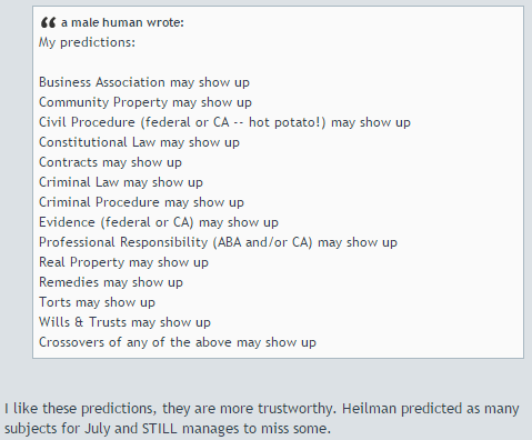 My predictions for the CA bar