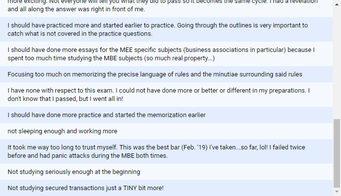 """""""Your biggest regret or mistake about bar exam?"""" 2"""