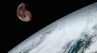 view of Earth and moon by GOES-16