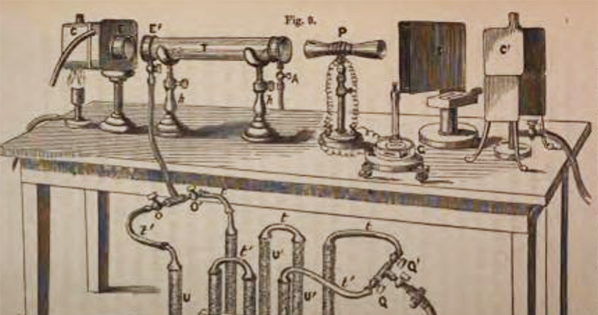Tyndall's heat-trapping gas apparatus