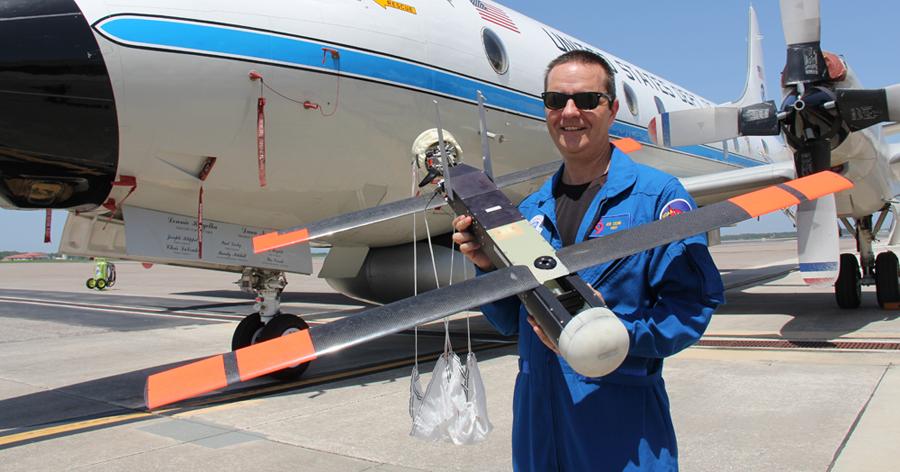 NOAA scientist Joe Cione with a Coyote drone