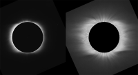 Side-by-side pre- and post-processed images, 1901 eclipse