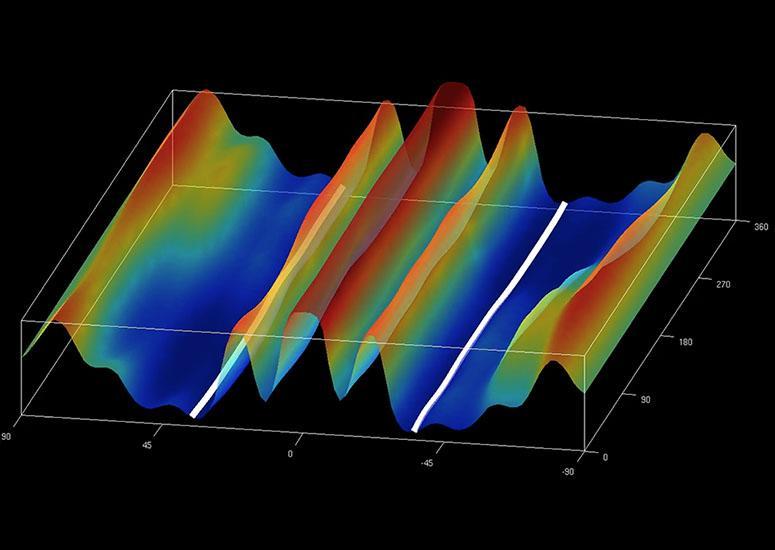 visualization of a computer model simulation shows a solar tsunami