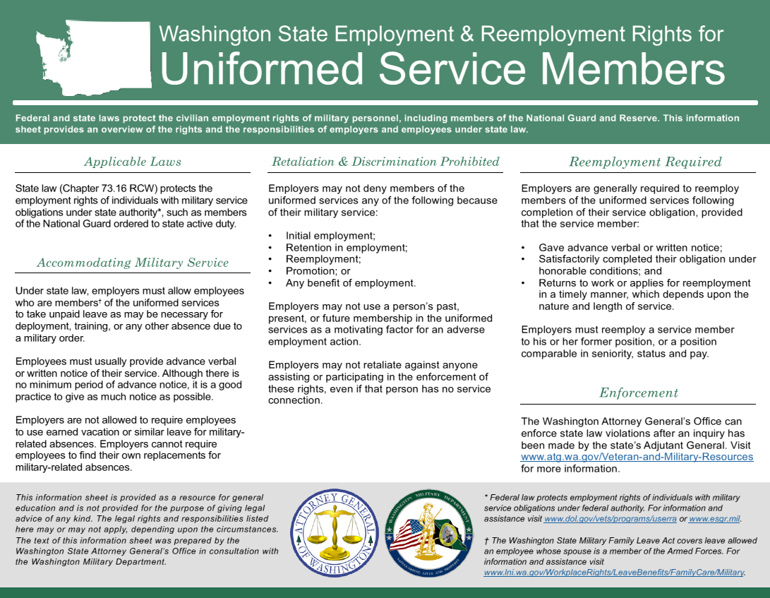Employment and Reemployment Rights Info Sheet