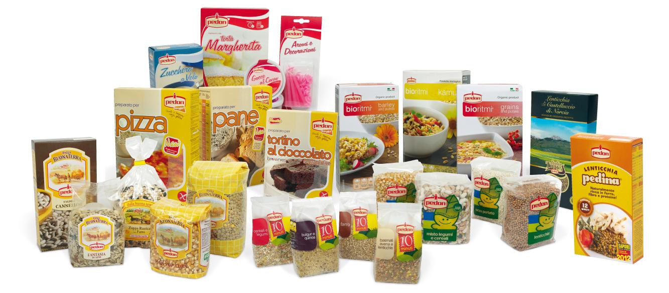 Prodotti Pedon, cereali e legumi, preparati per dolci, prodotti senza glutine e funghi secchi