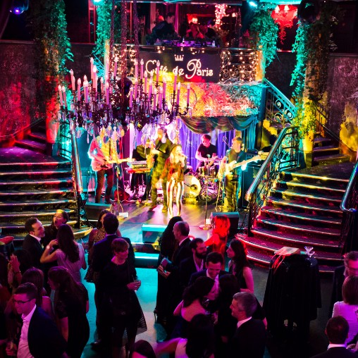 transformed West End nightclub Café de Paris into an enchanted forest for a night of holiday festivities.