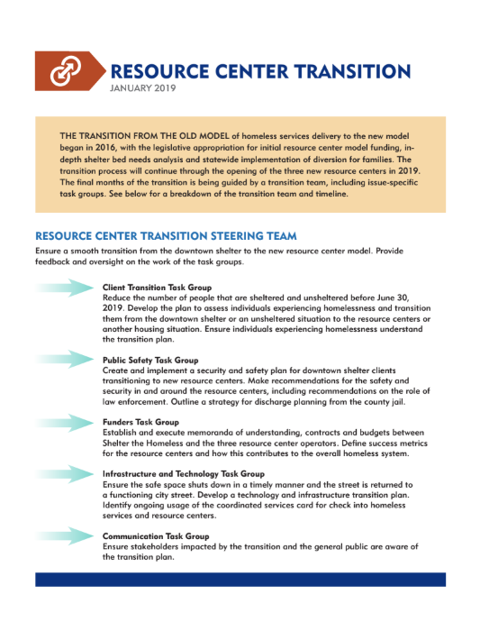 RESOURCE CENTER TRANSITION JANUARY 2019. THE TRANSITION FROM THE OLD MODEL of homeless services delivery to the new model began in 2016, with the legislative appropriation for initial resource center model funding, indepth shelter bed needs analysis and statewide implementation of diversion for families. The transition process will continue through the opening of the three new resource centers in 2019. The final months of the transition is being guided by a transition team, including issue-specific task groups. See below for a breakdown of the transition team and timeline. RESOURCE CENTER TRANSITION STEERING TEAM Ensure a smooth transition from the downtown shelter to the new resource center model. Provide feedback and oversight on the work of the task groups. Client Transition Task Group Reduce the number of people that are sheltered and unsheltered before June 30, 2019. Develop the plan to assess individuals experiencing homelessness and transition them from the downtown shelter or an unsheltered situation to the resource centers or another housing situation. Ensure individuals experiencing homelessness understand the transition plan. Public Safety Task Group Create and implement a security and safety plan for downtown shelter clients transitioning to new resource centers. Make recommendations for the safety and security in and around the resource centers, including recommendations on the role of law enforcement. Outline a strategy for discharge planning from the county jail. Funders Task Group Establish and execute memoranda of understanding, contracts and budgets between Shelter the Homeless and the three resource center operators. Define success metrics for the resource centers and how this contributes to the overall homeless system. Infrastructure and Technology Task Group Ensure the safe space shuts down in a timely manner and the street is returned to a functioning city street. Develop a technology and infrastructure transition plan. Identify ongoing usage o