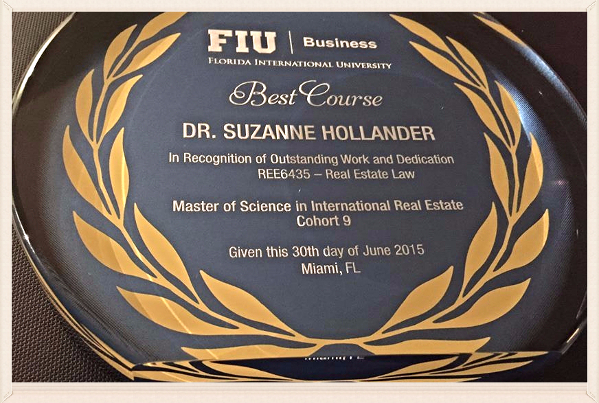 Suzanne Hollander Honored: Award Best Real Esate Course