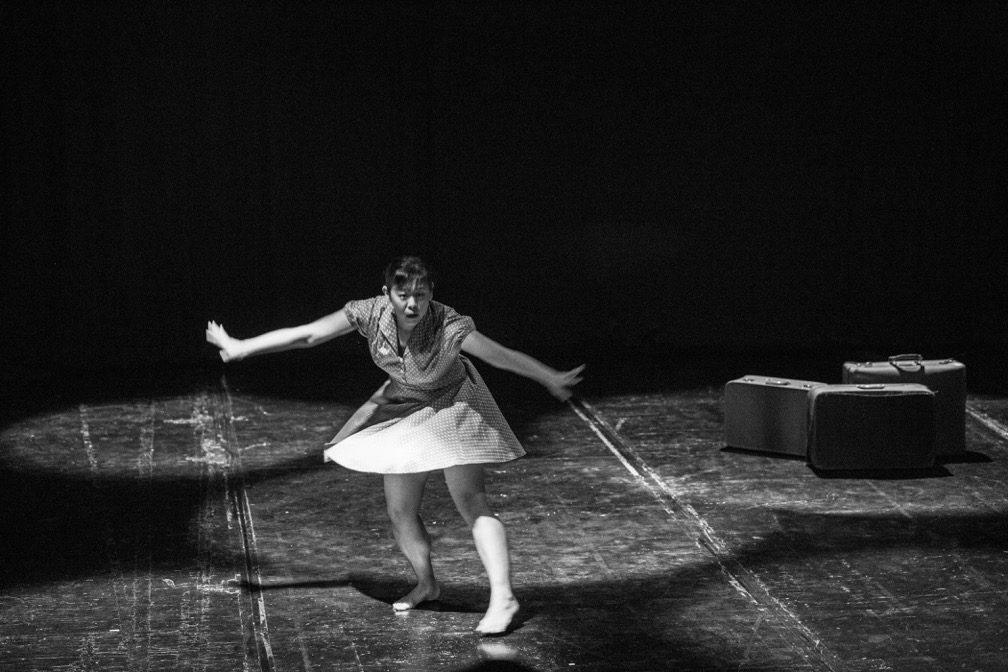 Black and white photo of dancer in performance