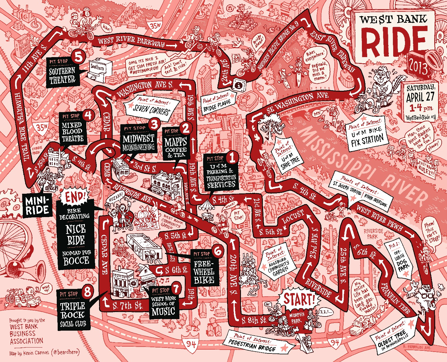 West Bank Ride map with pitstops