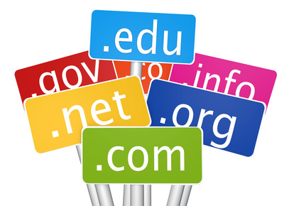 Signs showing domain name extensions