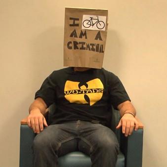 man with bag on head