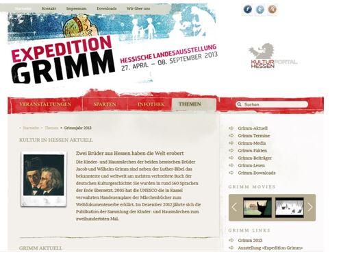 Themenseiten GRIMM auf dem Kulturportal Hessen