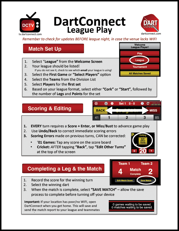 DartConnect League Match Instructions