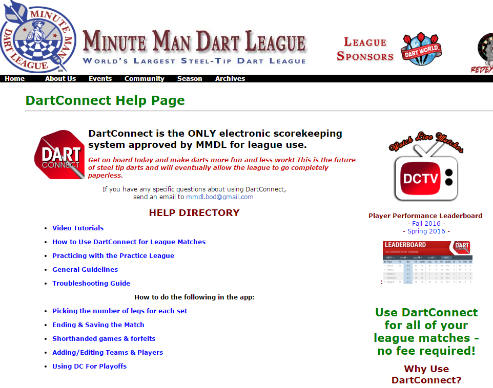 DartConnect Help Page