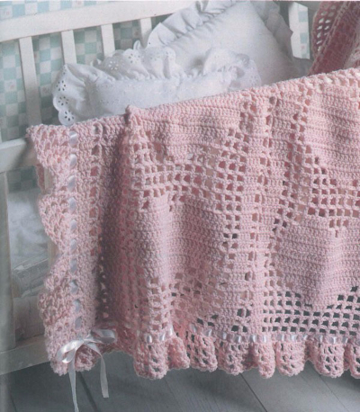 Hearts & Bows Baby Afghan Free Crochet Pattern