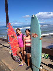 Rachel and friend with surf boards