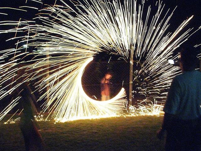 steel wool fireworks in Papua New Guinea
