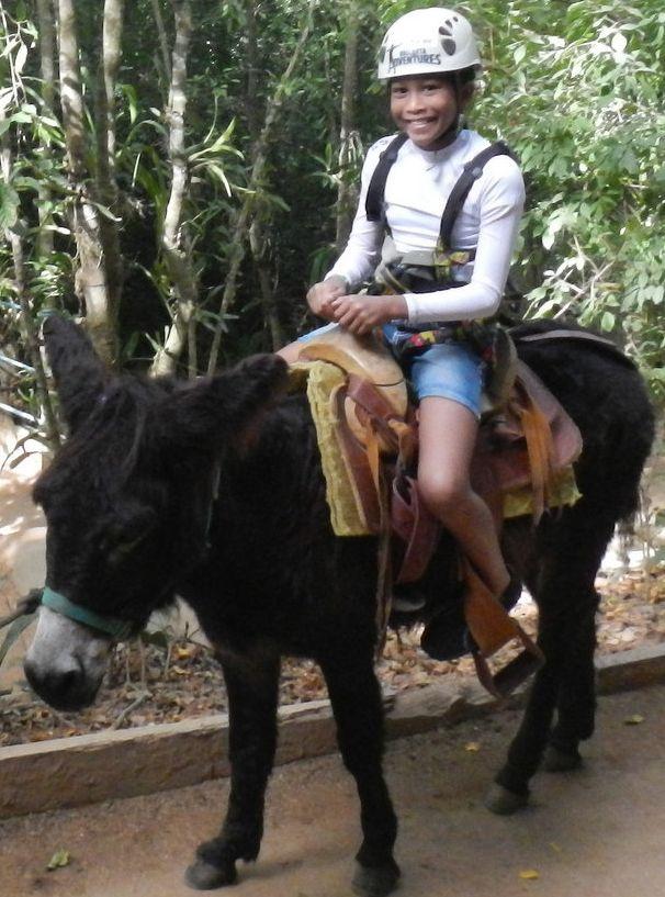 Rachel on a donkey