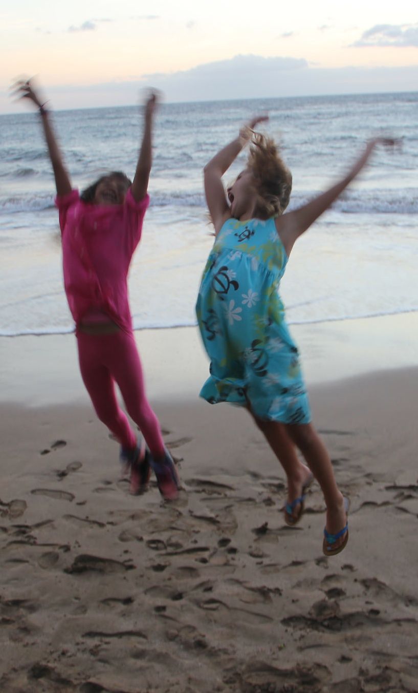 Rachel and Emily jumping