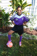 Rachel in soccer uniform