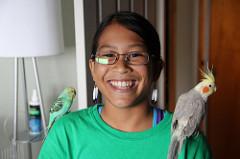 Rachel with 2 birds