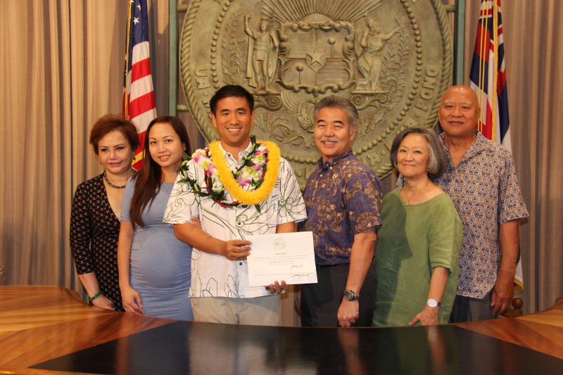 CIO Todd Nacapuy with Gov. David Y. Ige and family