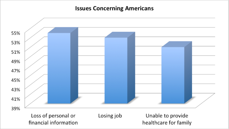 Graph showing issues concerning Americans