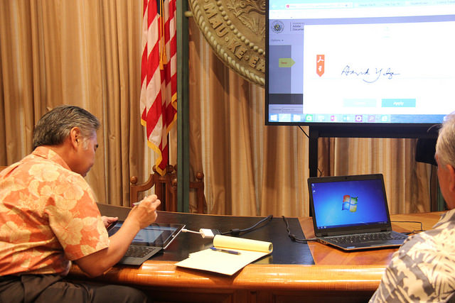 Governor signs document electronically