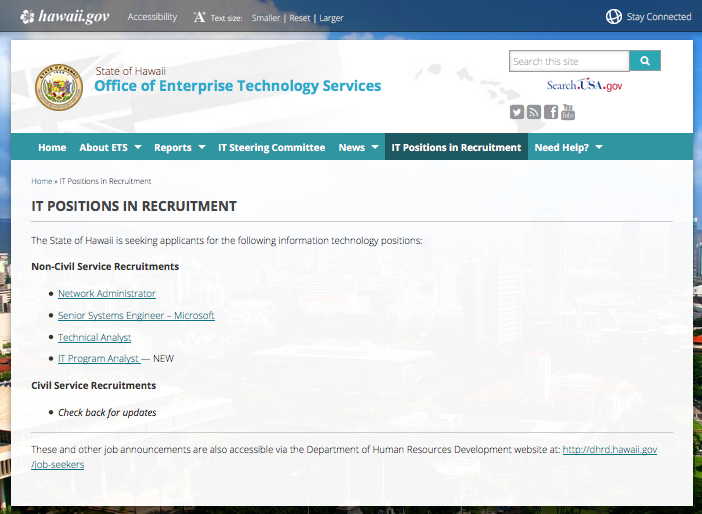 IT Positions in Recruitment Webpage