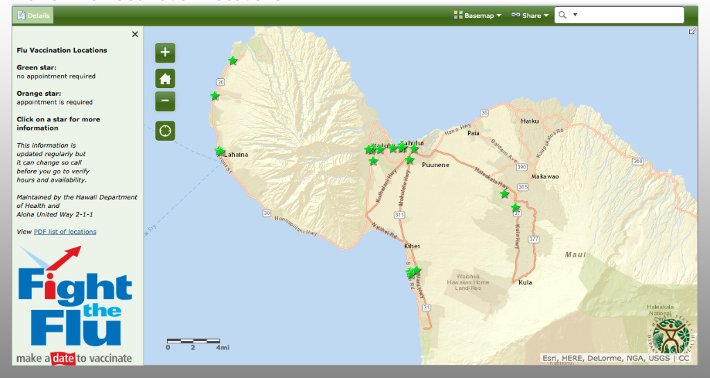 Online map of Hawaii flu vaccination locations