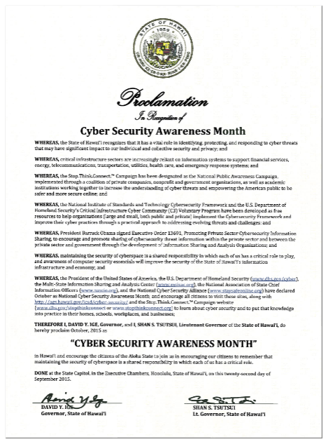 Cyber Security Awareness Month Proclamation