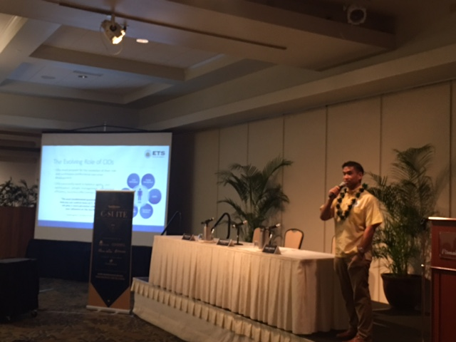 Photo of CIO Nacapuy offering keynote remarks at Hawaii Business' C-Suite event