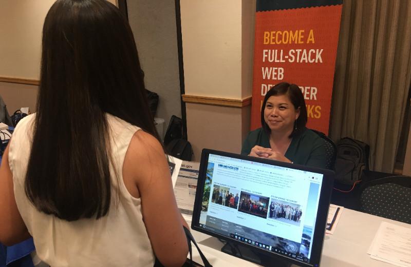 Photo of ETS Enterprise Programs Manager Leila Kakawa at Holiday Job Fair