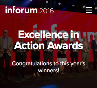 Inforum 2016 Excellence in Action Awards; Congratulations to this year's winners!