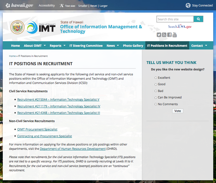 Link to IT Positions in Recruitment Webpage