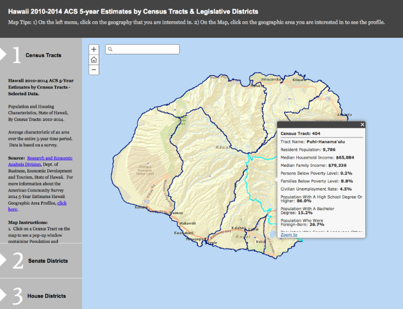Online map of Hawaii 2010-2014 Data by census tracts and legislative districts
