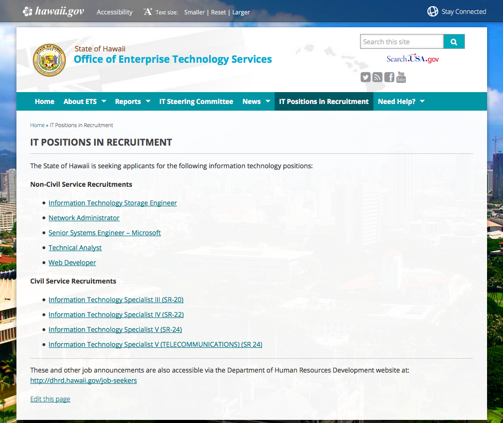 ETS IT Positions in Recruitment Webpage
