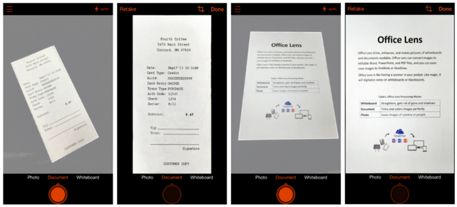 Before-and-after look at pictures of a receipt and a paper document captured and processed by Office Lens for iPhone (courtesy of Microsoft)
