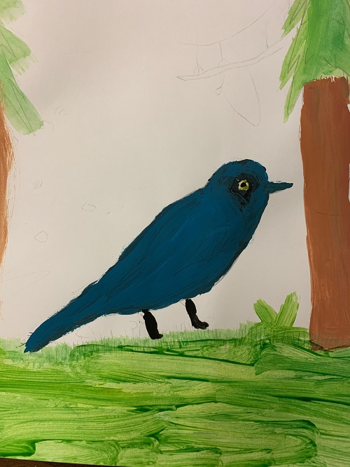 Watercolor of blue bird by 5th grader.