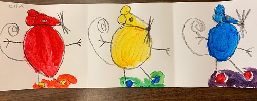 Watercolor of 3 mice, red, yellow, blue, by a first grader.