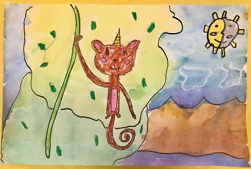 Watercolor by fourth grader of unicorn on landscape