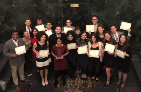 Model UN team with their award certificates