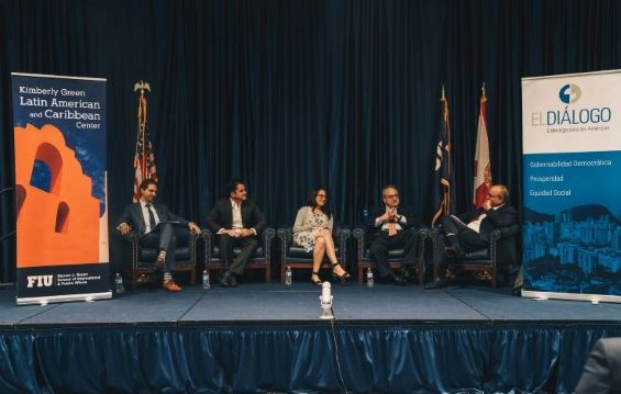 Panelists at the event speaking. Panelists were: Michael Camilleri of the Inter-American Dialogue; Venezuelan author Raul Stolk; Tamara Taraciuk of Human Rights Watch; Michael Shifter of IAD; and Frank Mora, director of the Kimberly Green Latin American and Caribbean Center