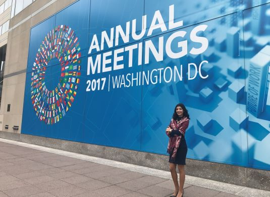 Alumna Paula Mora at an annual meeting of the World Bank in 2017