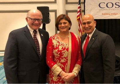 FIU President Mark B. Rosenberg with Fauzia and Mohsin Jaffer
