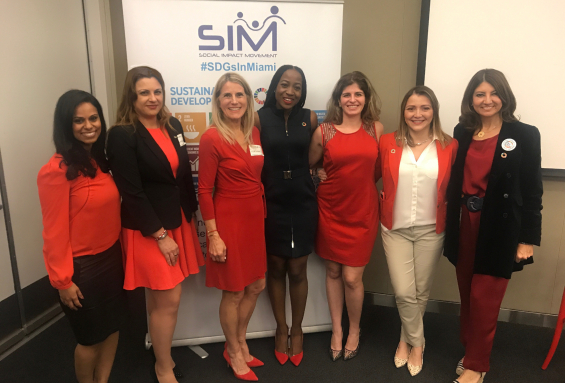 Maria Ilcheva with fellow panelists during a community discussion of gender equality hosted at Venture Cafe and organized by the Social Impact Movement (SIM) in collaboration with the United Nations Association – Miami Chapter
