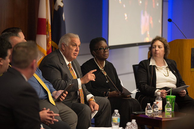 Panelists discuss gun violence during the event