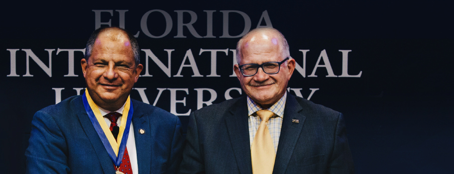 Cover of the Magazine featuring Costa Rican President Luis Guillermo Solís Rivera with FIU President Mark B. Rosenberg